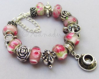 Pink Garden Tea Party European Charm Bracelet - Pink Floral Lampwork Glass Beads With Silver Teapot And Teacup Charms