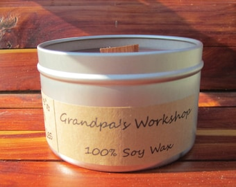 Grandpa's Workshop. 8oz Soy Candle Tin with Wood Wick