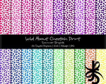Digital Scrapbook Papers-Summer Brights Cheetah Print-Animal Print-Bright Colors-Backgrounds-Wallpaper-Printable-Instant Download Clip Art
