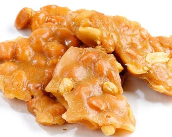 Half lb of Peanut Brittle plus Half lb Milk Chocolate & Sea Salt topped Peanut Brittle FREE SHIPPING Peanut Brittle