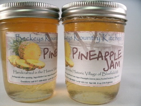 Two Jars Pineapple Jam, Homemade by Beckeys Kountry Kitchen jam jelly preserves fruit spread Artisan handcrafted quality