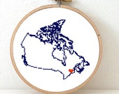 Canada Map Cross Stitch Pattern. Printeble Canada embroidery pattern highlighting Ottawa. Travel map.