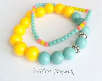 Yellow bracelet, turquoise, beaded bracelet, yellow, aqua, bracelet set, color block jewelry, stretch bracelet