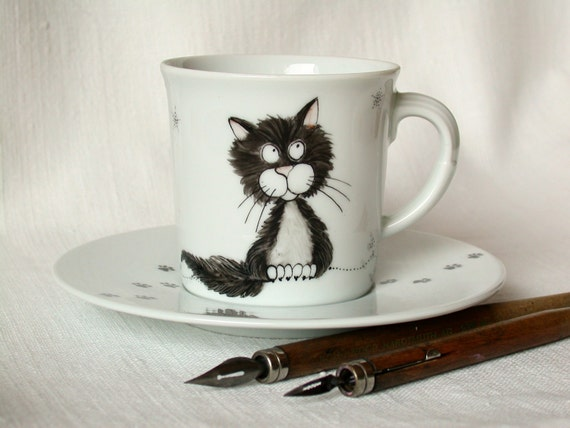 black cat cup and saucer handpainted on vintage LAST ONE porcelain cup halloween cat coffee cup