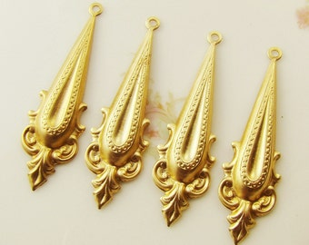 Ornate Victorian Style Raw Brass Drops Earring Dangles 44mm - 4
