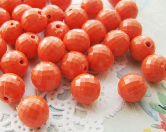 Vintage Opaque Coral Orange Faceted 8mm Plastic Acrylic Round Beads - 30