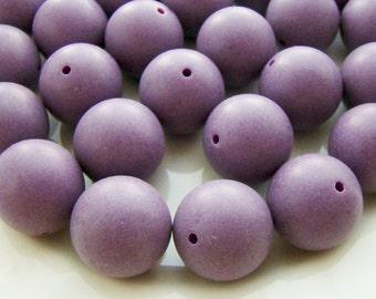 Vintage Large 18mm Round Purple Grape Mottled Plastic Beads - 6
