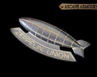 Zeppelin Union Pin Brooch Steampunk Gun metal Gold