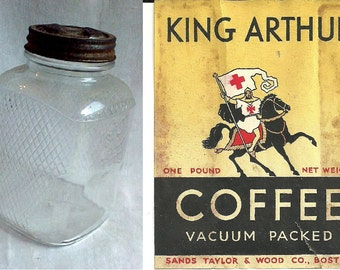 Vintage 1930s Quilted Glass Storage Jar - Original King Arthur Coffee Container w/ Metal Lid - Hoosier Cabinet - Nice Advertizing Graphics