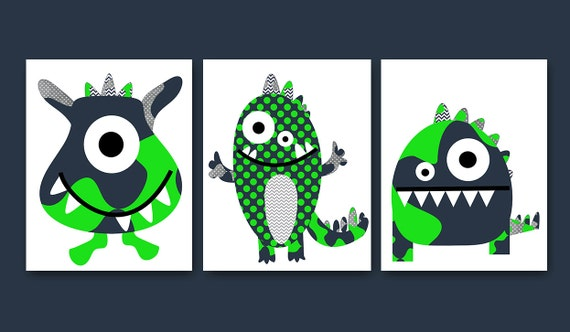 Wall Art Baby Boy Room Decor Monster Baby Boy Nursery Kids Art Baby
