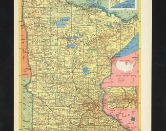 Vintage Map Minnesota From 1953 Original