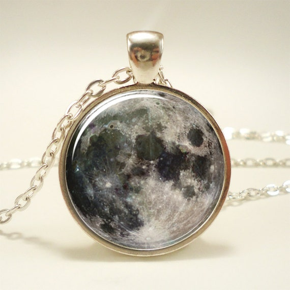 Full Moon Necklace, Glass Photo Pendant Charm, Space Jewelry (0439S1IN)