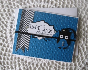 """Handmade Greeting Card: Graduation """"Imagine The Possibilities"""" with Cute Paper OWL"""