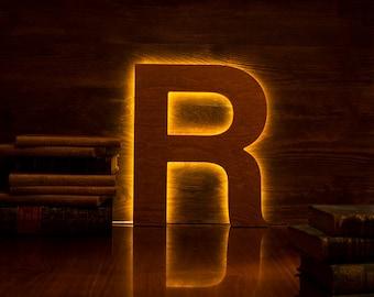 Light up letters, copper LED lamp, night light, wooden letter, custom colors