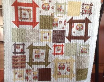 Owl baby quilt gender neutral baby toddler quilt Owl Churndash Patchwork Red Brown Gold Green Quilt Blanket