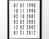 Personalized Important Dates Subway Art  2 8x10 Print // Custom Family or Wedding Gift //