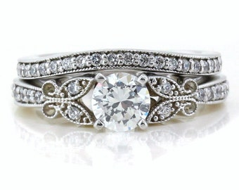 Gold Platinum or Palladium Wedding Set Diamond Setting Moissanite Center Butterfly Kisses