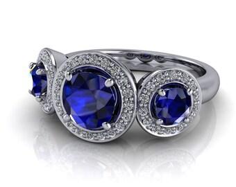 3 Stone Engagement Ring, Natural Blue Sapphire and Diamonds Ring Name New Horizon