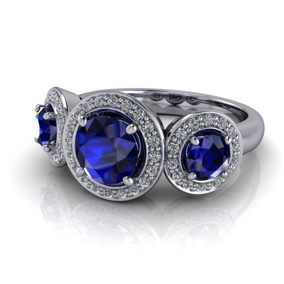3 Stone Engagement Ring Natural Blue Sapphire and Diamonds