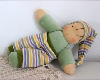 Yoshi, little cosy waldorf inspired doll ,  cuddle doll, Babies first friend,