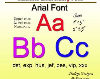 Download Machine Embroidery Alphabet Font: Arial Font.