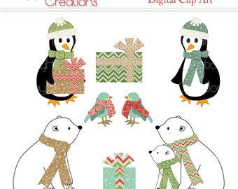 INSTANT DOWNLOAD - Printable Holiday Cheer Clip Art - For Commercial or Personal Use - Polar Bears, Penguins and Birds