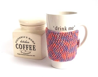 SALE - 50% Off! Knit Coffee Cozy. Knitted Mug Cozy. Hand Knit Tea Cup Cozy. Pink-Blue-Lavender.
