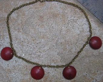 Red Polka Dot Deco Choker Necklace Red Wooden Necklace ANTIQUE Vintage Bauble Wood and Brass