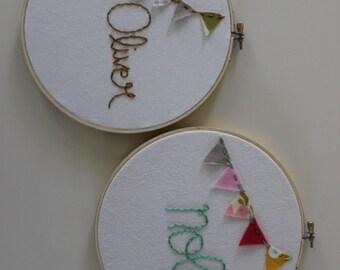 Custom Personalized Name Bunting Embroidery Hoop Nursery Art
