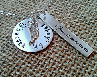 Forever My Angel Necklace, Personalized Remembrance Necklace - Memorial Necklace -My Angel Necklace