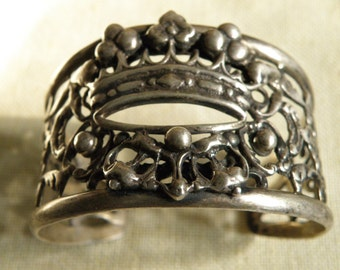 Vintage Sterling Silver Crown Cuff