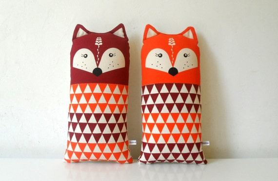 A Scandinavian Retro Fox soft Toy orange rust red children room geo triangle screemprinted