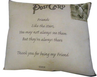Friends Postcard Pillow 11 x 8