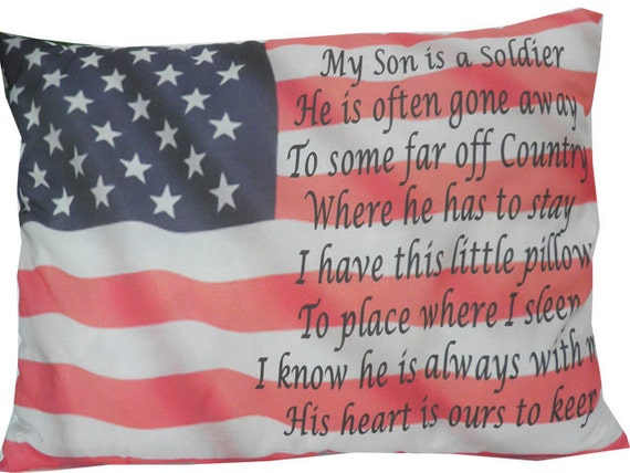 "Moms Pillow Soldier Medium 18 x 13"" Pillow Deployment Stars & stripes Pillow, Gift for Army mom, gift for her, Army Mom gift"