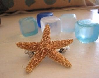 Mini Sugar Starfish Barrette - Wedding Hair Barrette - Beach Wedding - Starfish Hair Accessories -Bridal Accessories - Flower Girl Accessory