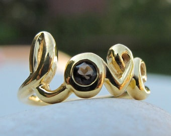 Smoky Topaz Love Ring- Word Love Statement Ring- Bestfriend Love Ring- Brown Smoky Quartz Ring- Unique Brown Gem Ring- Gifts for Bridesmaid