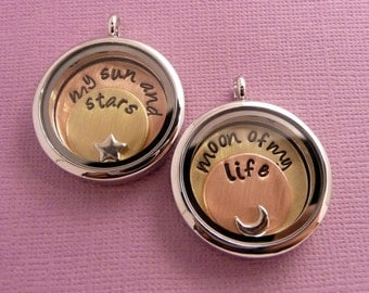 Game of Thrones Inspired - My Sun and Stars & Moon of My Life - A Pair of Floating Lockets (Memory / Living) - Necklace, Keychain, Bracelet