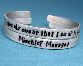 I Solemnly Swear That I Am Up To No Good & Mischief Managed - A Pair of Hand Stamped Bracelets