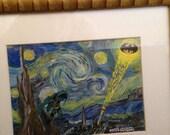 Batman Van Gogh - Starry Batman Night in Gotham City - Fusion Art Collage  - original one of a kind  signed art  - for sale