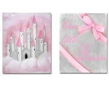 Nursery decor, Pink, Grey, Nursery wall art, Castle, Nursery prints, Princess Decor, Girl Nursery art, Girls room Decor, Princess Nursery