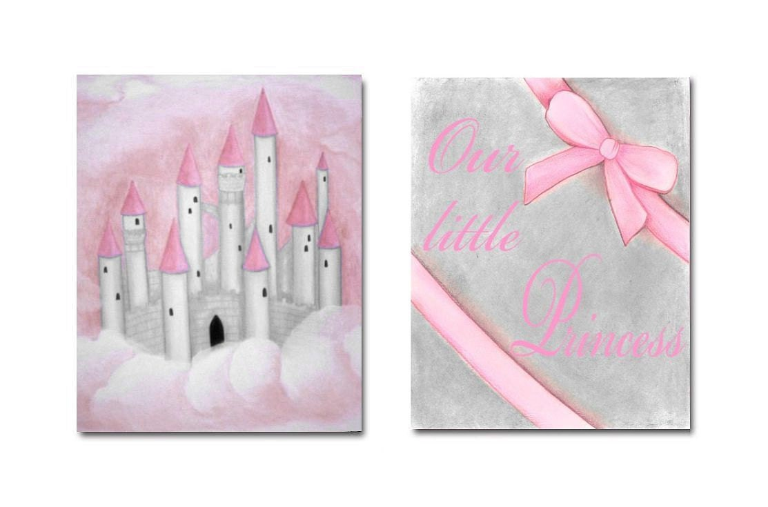 Nursery decor pink grey nursery wall art castle by for Pink wall art