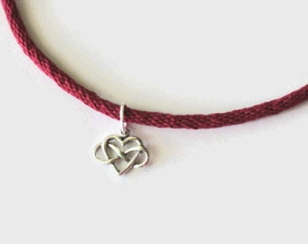 Infinity heart choker - red kumihimo braid - sterling silver - toggle clasp - a sweet Mothers Day surprise