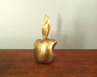 Small Vintage Brass Apple Figurine