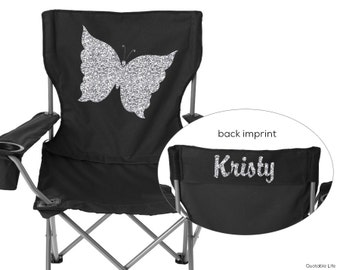 Butterfly Beach, Camping, Sports, Folding Chair // Solid or Glitter Vinyl