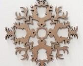 Holiday Deer Stag Medieval Sigil Wood Cut Christmas Ornament