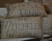 Custom Hand Drawn Burlap Pillow with Holiday Greeting, Family Name, or Other Sentiment