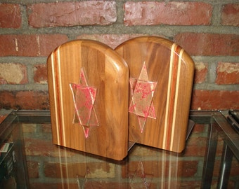 Judaica  Wood and Glass Star of David Bookends