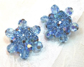 Vintage Earrings Light Blue Snowflakes or Flowers Crystal Clip On Earrings Estate Jewelry