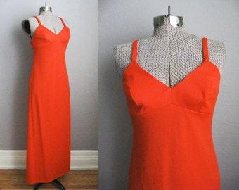 1960s Vintage Dress Alfred Shaheen Hawaii Orange 60s Maxi Dress / XS