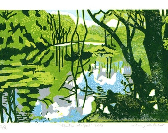 Millpool limited edition linocut reduction print (green)